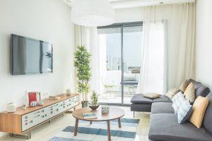 Salon dans un appartement témoin à Mansouria Beach Resort Mohammedia Bouznika