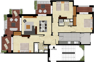 Plan appartement témoin T4 Mansouria Beach Resort Mohammedia Bouznika