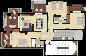 Plan appartement témoin T4 Mansouria Beach Resort Mohammedia Bouznika