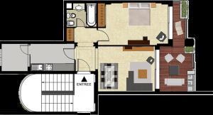 Plan appartement témoin T2 Mansouria Beach Resort Mohammedia Bouznika